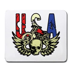 Usa Classic Motorcycle Skull Wings Large Mousepad