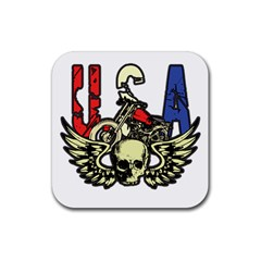USA Classic Motorcycle Skull Wings Rubber Coaster (Square)