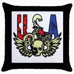 USA Classic Motorcycle Skull Wings Throw Pillow Case (Black)