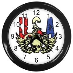 USA Classic Motorcycle Skull Wings Wall Clock (Black)