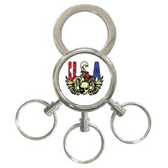 Usa Classic Motorcycle Skull Wings 3 Ring Key Chain