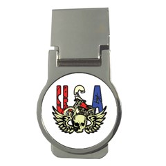 USA Classic Motorcycle Skull Wings Money Clip (Round)