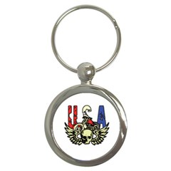 USA Classic Motorcycle Skull Wings Key Chain (Round)