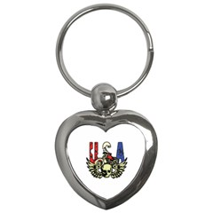 USA Classic Motorcycle Skull Wings Key Chain (Heart)