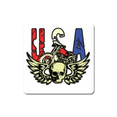 Usa Classic Motorcycle Skull Wings Magnet (square)
