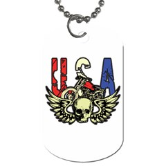 USA Classic Motorcycle Skull Wings Dog Tag (One Side)