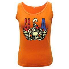 USA Classic Motorcycle Skull Wings Women s Dark Tank Top