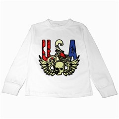 USA Classic Motorcycle Skull Wings Kids Long Sleeve T-Shirt