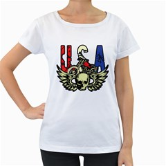 USA Classic Motorcycle Skull Wings Women s Loose-Fit T-Shirt (White)