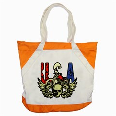 USA Classic Motorcycle Skull Wings Accent Tote Bag