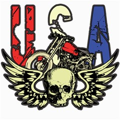 USA Classic Motorcycle Skull Wings Canvas 16  x 16
