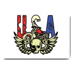 USA Classic Motorcycle Skull Wings Large Doormat