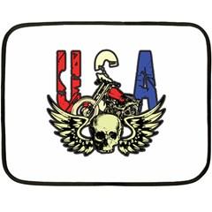 Usa Classic Motorcycle Skull Wings Mini Fleece Blanket(two Sides)