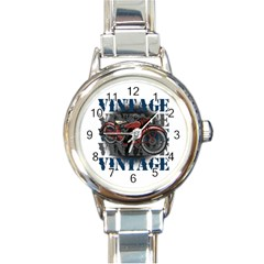 Vintage Motorcycle Multiple Text Shadows Round Italian Charm Watch