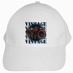 Vintage Motorcycle Multiple Text Shadows White Cap