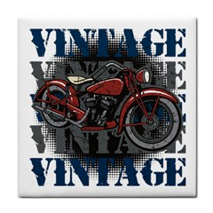 Vintage Motorcycle Multiple Text Shadows Tile Coaster
