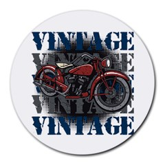 Vintage Motorcycle Multiple Text Shadows Round Mousepad