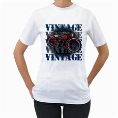 Vintage Motorcycle Multiple Text Shadows Women s T-Shirt (White) (Two Sided)