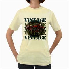 Vintage Motorcycle Multiple Text Shadows Women s Yellow T-Shirt
