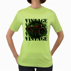 Vintage Motorcycle Multiple Text Shadows Women s Green T-Shirt
