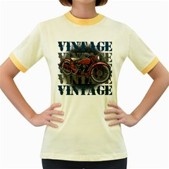Vintage Motorcycle Multiple Text Shadows Women s Fitted Ringer T-Shirt