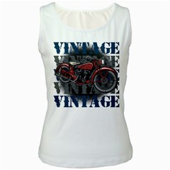 Vintage Motorcycle Multiple Text Shadows Women s Tank Top