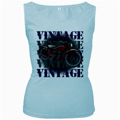Vintage Motorcycle Multiple Text Shadows Women s Baby Blue Tank Top