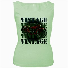 Vintage Motorcycle Multiple Text Shadows Women s Green Tank Top