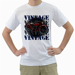 Vintage Motorcycle Multiple Text Shadows Men s T-Shirt (White) (Two Sided)