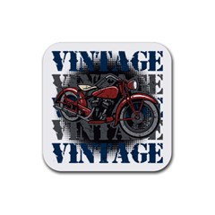 Vintage Motorcycle Multiple Text Shadows Rubber Square Coaster (4 pack)