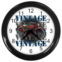 Vintage Motorcycle Multiple Text Shadows Wall Clock (black)