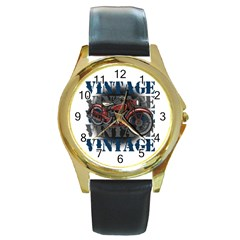 Vintage Motorcycle Multiple Text Shadows Round Gold Metal Watch