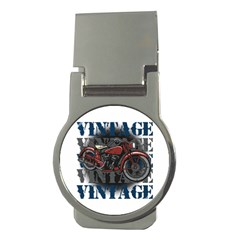 Vintage Motorcycle Multiple Text Shadows Money Clip (round)
