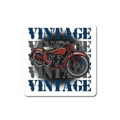 Vintage Motorcycle Multiple Text Shadows Magnet (square)