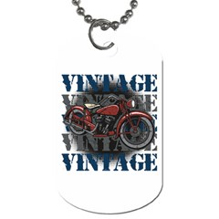 Vintage Motorcycle Multiple Text Shadows Dog Tag (one Side)