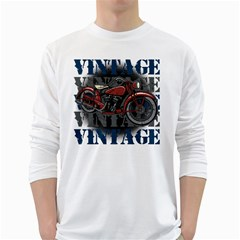 Vintage Motorcycle Multiple Text Shadows Long Sleeve T-Shirt