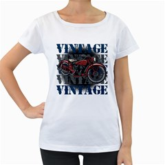 Vintage Motorcycle Multiple Text Shadows Women s Loose-Fit T-Shirt (White)