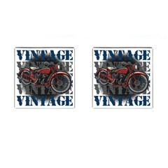 Vintage Motorcycle Multiple Text Shadows Cufflinks (Square)