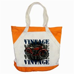 Vintage Motorcycle Multiple Text Shadows Accent Tote Bag