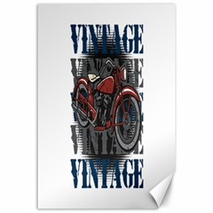 Vintage Motorcycle Multiple Text Shadows Canvas 24  x 36