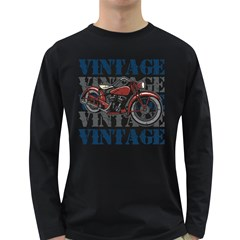 Vintage Motorcycle Multiple Text Shadows Long Sleeve Dark T Shirt