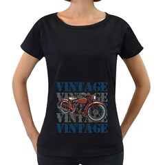 Vintage Motorcycle Multiple Text Shadows Women s Loose-Fit T-Shirt (Black)