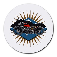 Classic Vintage Motorcycle Round Mousepad