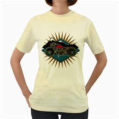 Classic Vintage Motorcycle Women s Yellow T-Shirt