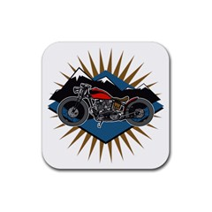 Classic Vintage Motorcycle Rubber Square Coaster (4 pack)