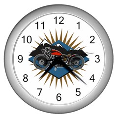 Classic Vintage Motorcycle Wall Clock (silver)