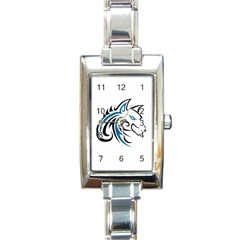 Blue And Black Wolf Head Outline Facing Right Side Rectangular Italian Charm Watch