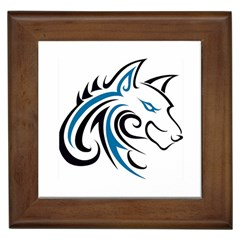 Blue And Black Wolf Head Outline Facing Right Side Framed Tile
