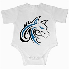 Blue And Black Wolf Head Outline Facing Right Side Infant Creeper
