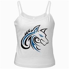 Blue And Black Wolf Head Outline Facing Right Side White Spaghetti Tank